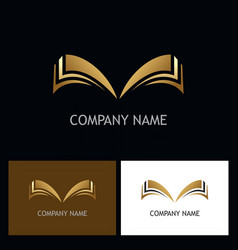 Gold open book logo vector