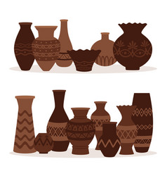 Greek vases ancient decorative pots isolated on vector