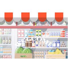 Grocery store front window vector