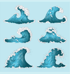 hand drawn sea wave sketch ocean storm waves vector image