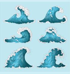 hand drawn sea wave sketch ocean storm waves vector image