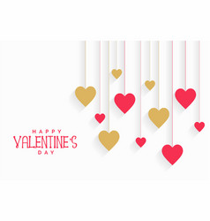 Hanging hearts background for valentines day vector