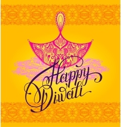 Happy Diwali greeting card with paisley ornamental vector