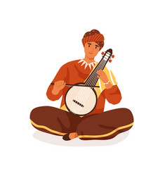 indian street musician playing traditional string vector image