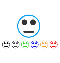 Indifferent smile rounded icon vector