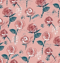 Ink hand drawn vintage styled roses vector image