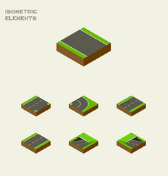 Isometric road set of driveway asphalt subway vector