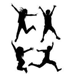 kids jumping silhouette 03 vector image