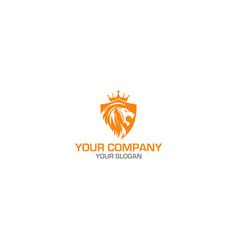 king lion shield logo design vector image