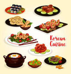 Korean cuisine menu icon of meat and seafood dish vector