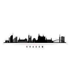 krakow skyline horizontal banner black and white vector image