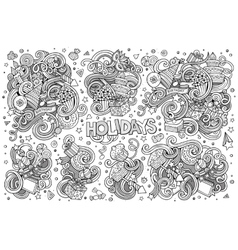 Line art set of holidays object vector