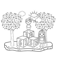 Little kids with blocks in the landscape vector