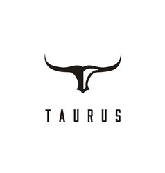 long horn bull buffalo cow cattle head taurus logo vector image