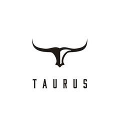 Long horn bull buffalo cow cattle head taurus logo vector