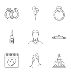 Marriage ceremony icons set outline style vector