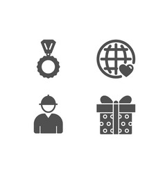 Medal engineer and international love icons gift vector
