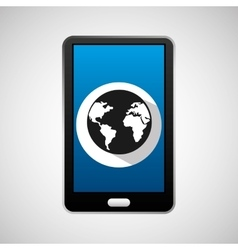 mobile phone app globe work vector image