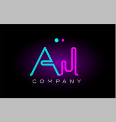 neon lights alphabet aj a j letter logo icon vector image