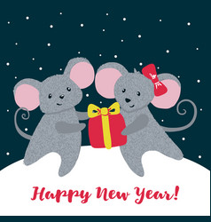 New year greeting card with cute mice vector