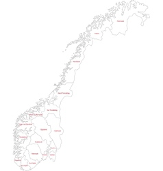 Outline norway map vector