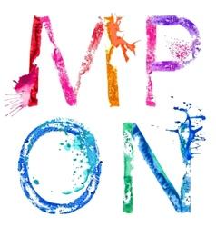 paint splash font MNOP vector image