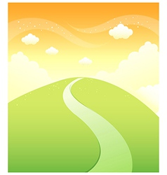 Path over mountain sky vector