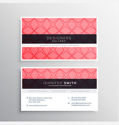 Pink business card template with pattern vector