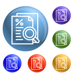 Procent paper icons set vector