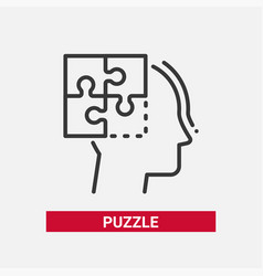 Puzzle - line design single isolated icon vector