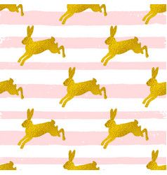 rabbits on a pink striped background vector image