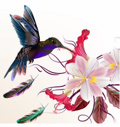 Realistic humming bird and flowers vector