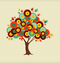 retro color shapes concept tree decoration vector image