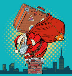Santa claus with a suitcase climbs into the vector