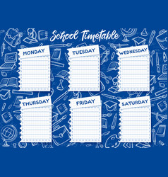 School timetable and weekly student schedule vector