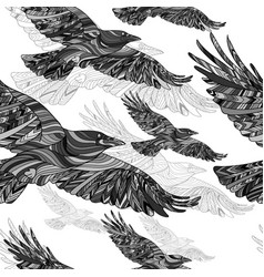 seamless pattern hand-drawn crows with ethnic vector image