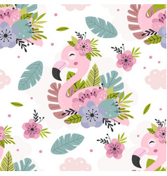 Seamless pattern with beautiful pink flamingo vector