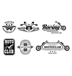set vintage motorcycle club logos vector image