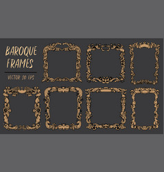 Set with gold baroque frames in rococo style with vector