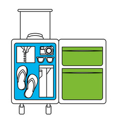 Silhouette color section of opened suitcase of vector