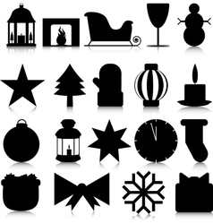 Silhouettes of Christmas paraphernalia on a white vector image vector image