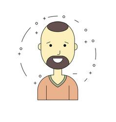 smiling man character minimalism cartoon flat vector image