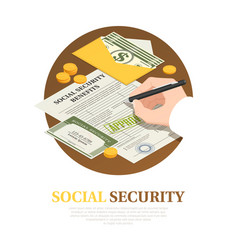 Social security benefits isometric composition vector