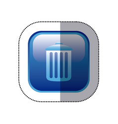 sticker blue square frame with trash container vector image