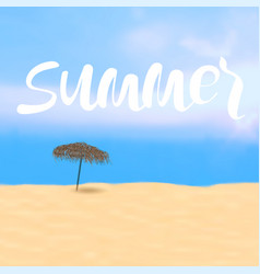 summer poster ith lettering and beach bamboo vector image