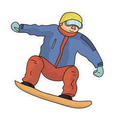 The athlete with the blue jacket and red pants on vector