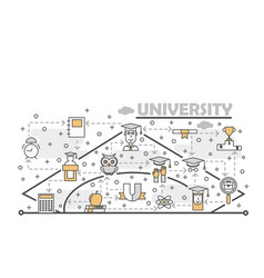 thin line art university poster banner vector image