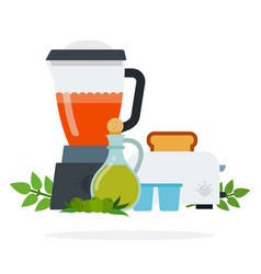 tomato sauce in a blender toaster with bread vector image