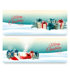 Two Christmas banners with presents and magic box vector