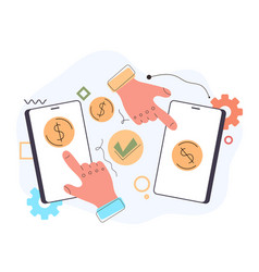 two hands arms pushing money transaction vector image